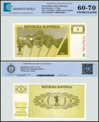 Slovenia 1 Tolar Banknote, 1990, P-1a, UNC, TAP 60 - 70 Authenticated