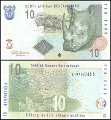 South Africa 10 Rand Banknote, 2009, P-128b, UNC, Rhino