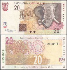 South Africa 20 Rand Banknote, 2009, P-129b, UNC, Elephant