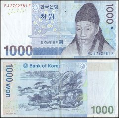South Korea 1,000 Won Banknote, 2007, P-54, USED