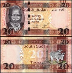 South Sudan 20 Pounds Banknote, 2017, P-13c, UNC