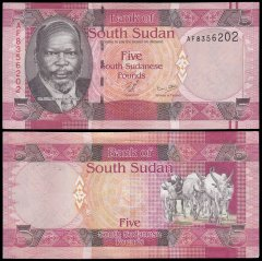 South Sudan 5 Pounds Banknote, 2011, P-6, UNC