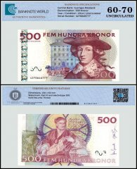 Sweden 500 Kronor Banknote, 2014, P-66c, Serial # 4270646777, UNC, TAP 60 - 70 Authenticated
