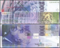 Switzerland 1,000 Franken Banknote, 2012, P-74d, Serial #, UNC