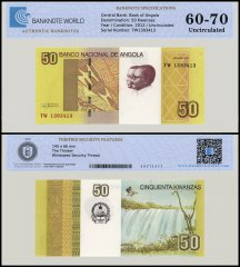 Angola 50 Kwanzas Banknote, 2012, P-152a, UNC, TAP 60 - 70 Authenticated