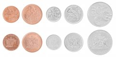 Trinidad & Tobago 1 - 50 Cents, 5 Piece Coin Set, 2012, KM # 29-33, Mint