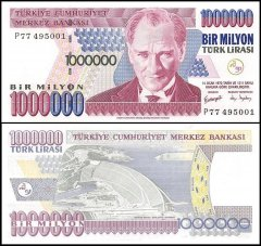 Turkey 1 Million Lira Banknote, 2002, P-213, UNC, Prefix-P