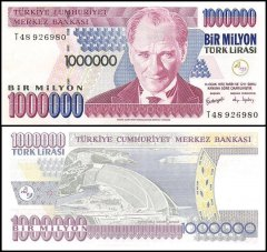 Turkey 1 Million Lira Banknote, 2002, P-213, UNC, Prefix-T
