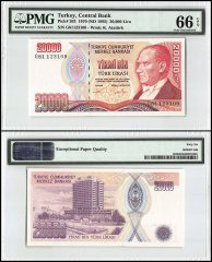 Turkey 20,000 Lira, 1970, P-202, Series G, PMG 66