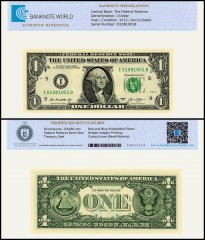 United States of America - USA 1 Dollar Banknote, 2013, P-537, UNC, TAP 60 - 70 Authenticated