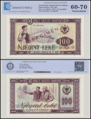 Albania 100 Leke Banknote, 1976, P-46s2, SPECIMEN, UNC, TAP Authenticated