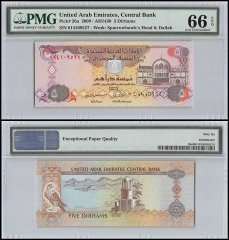 United Arab Emirates - UAE 5 Dirhams, 2009, P-26a, PMG 66