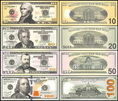 United States of America - USA - Novelty / Fantasy - Film Money 10 - 100 Dollars 4 Piece Set