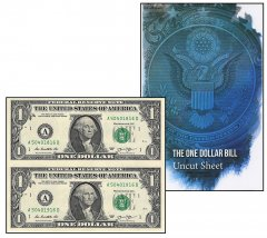United States of America - USA 1 Dollar, Limited Edition Banknote Folder, 2013, P-537, UNC, 2 Piece Uncut Sheet