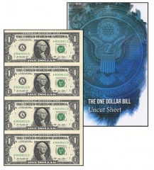 United States of America - USA 1 Dollar, Limited Edition Banknote Folder, 2013, P-537, UNC, 4 Piece Uncut Sheet