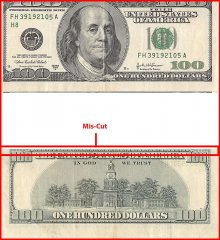 United States of America - USA 100 Dollars Banknote, 2003, Error Miscut, Used