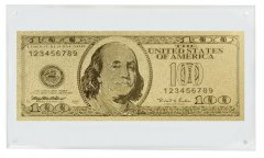 United States of America - USA 100 Dollars Novelty / Fantasy Gold, Benjamin Franklin, Acrylic Block