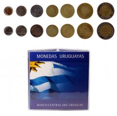 Uruguay 10 Centesimos - 10 Pesos, 7 Piece Coin Set, 1994-2000, Mint, Folder