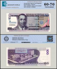 Philippines 100 Piso Banknote, 2011, P-212, UNC, TAP 60-70 Authenticated