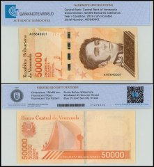 Venezuela 50,000 Bolivar Soberano Banknote, 2019, P-NEW, UNC, TAP 60-70 Authenticated