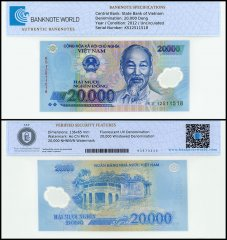 Vietnam 20,000 Dong, 2012, P-120e, UNC, TAP Authenticated