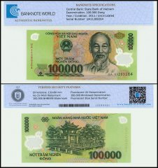 Vietnam 100,000 Dong, 2011, P-122h, UNC, TAP Authenticated