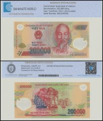 Vietnam 200,000 Dong Banknote, 2011, P-123g, UNC, TAP 60-70 Authenticated