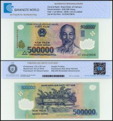 Vietnam 500,000 Dong, 2009, P-124f, UNC, TAP Authenticated