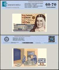 Ireland 5 Pounds Banknote, 1999, P-75b, UNC, TAP 60-70 Authenticated