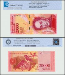 Venezuela 20,000 Bolivar Fuerte, 2017, P-99b, UNC, TAP Authenticated