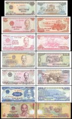 Vietnam 200 - 10,000 Dong 7 Pieces Set, 1987-2017, P-100-119, UNC