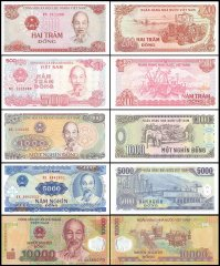 Vietnam 200 - 10,000 Dong X 5 Pieces Set, 1987-2008, P-100-119, UNC
