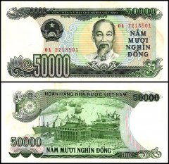 Vietnam 50,000 Dong Banknote, 1994, P-116a, Rust Stains, AU - About Uncirculated
