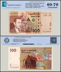 Morroco 100 Dirhams Banknote, 2002, P-70, UNC, TAP 60-70 Authenticated