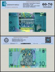 Samoa 10 Tala Banknote, 2017, P-39, UNC, TAP 60 - 70 Authenticated