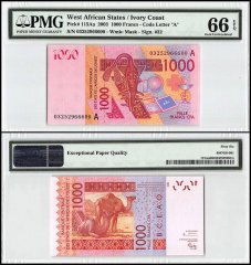 West African States 1,000 Francs, 2003, P-115Aa, Prefix-A, PMG 66