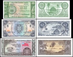 Western Samoa 1-10 Tala 3 Piece Set, 1967, P-16-18, Limited Official Reprint, UNC