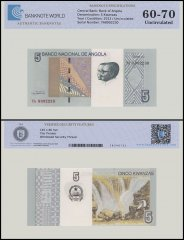 Angola 5 Kwanzas Banknote, 2012 P-151A, UNC, TAP 60 - 70 Authenticated