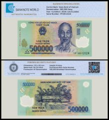 Vietnam 500,000 Dong Banknote, 2018, P-124n, UNC, TAP Authenticated