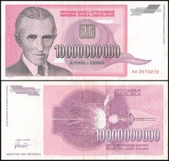 Yugoslavia 10 Billion Dinara Banknote, 1993, P-127, USED