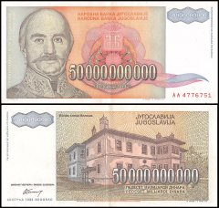 Yugoslavia 50 Billion Dinara Banknote, 1993, P-136, USED