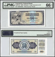 Yugoslavia 50 Dinara, 1968, P-83c, With Security Thread, PMG 66