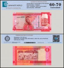 Gambia 5 Dalasis Banknote, 2015, P-31, Replacement, UNC, TAP Authenticated