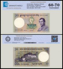 Bhutan 10 Ngultrum Banknote, 2013, P-29b, Replacement, UNC, TAP 60-70 Authenticated