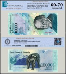 Venezuela 10,000 Bolivar Fuerte Banknote, 2016-17, P-98, Replacement, UNC, TAP 60 - 70 Authenticated