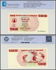 Zimbabwe 10 Million Dollars Bearer Cheque, 2008, P-55, UNC, TAP Authenticated