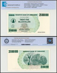 Zimbabwe 25 Million Dollars Bearer Cheque, 2008, P-56, UNC, TAP Authenticated