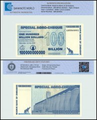Zimbabwe 100 Billion Dollars Agro Cheque, 2008, P-64, UNC, TAP Authenticated