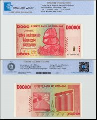 Zimbabwe 100 Million Dollars, 2008, P-80, UNC, TAP Authenticated
