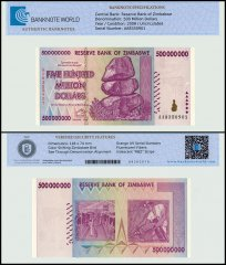 Zimbabwe 500 Million Dollars, 2008, P-82, Series AA, UNC, TAP Authenticated
